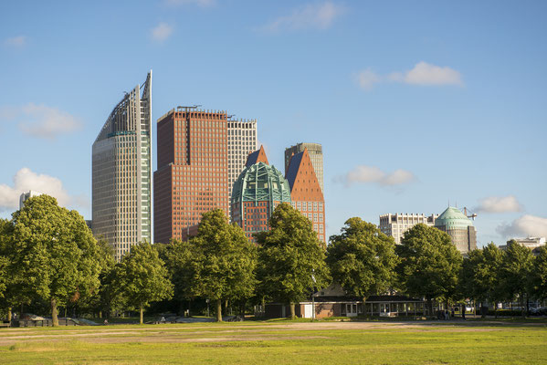Skyline of the Hague with Skyscrapers and City Park Malieveld, the Netherlands by Wim Verhagen