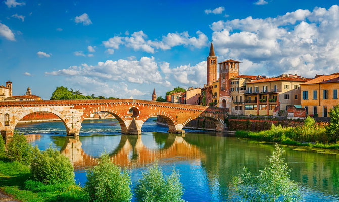Verona - European Best Destinations - Panoramic view to Bridge Ponte Pietra in Verona  Copyright Yasonya