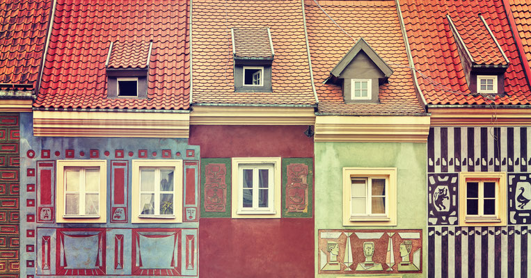 Retro toned colorful houses on Poznan Old Market Square, Poland.Copyright Maciej Bledowski