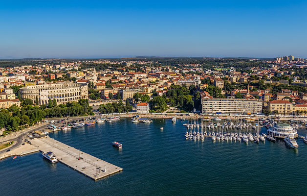 Aerial panorama of Pula harbor by OPIS Zagreb