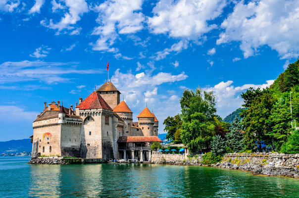 MONTREUX, SWITZERLAND  - Castle Chillon one of the most visited castle in Switzerland attracts more than 300,000 visitors every year. Copyright Emi Cristea