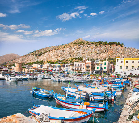 Beautiful panoramic view of Mondello port in Palermo, Sicily. Italy. Copyright  Aleksandar Todorovic