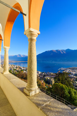 View of the Locarno and Lake Maggiore from the Madonna del Sasso church, in Locarno, Ticino, Switzerland - Copyright RnDmS
