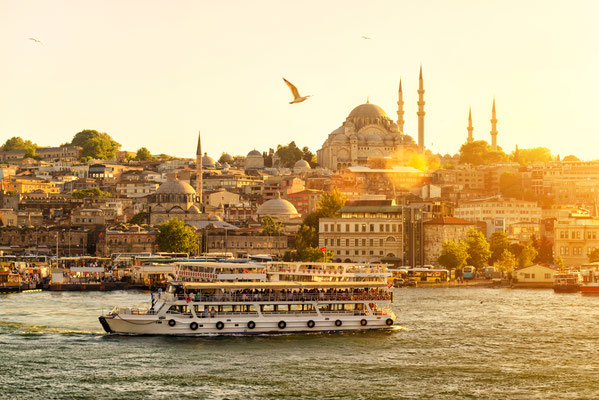 Tourist boat floats on the Golden Horn in Istanbul at sunset, Turkey - Copyright Viacheslav Lopatin