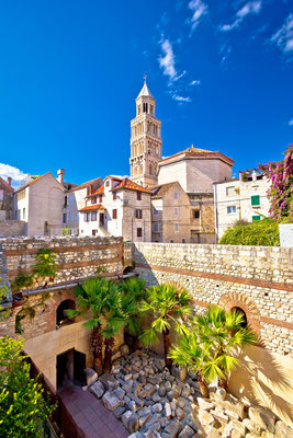 Split historic architecture of Diocletian's palace, UNESCO world heritage site, vertical view, Croatia by xbrchx