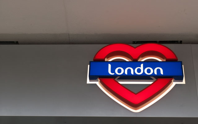 I Love London - Neon sign London written on a blue background in a red heart  Copyright DrimaFilm