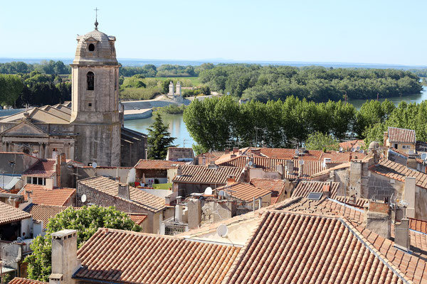 View of the Saint Julien church from the amphitheater in Arles, France - Copyright Maria Symchych