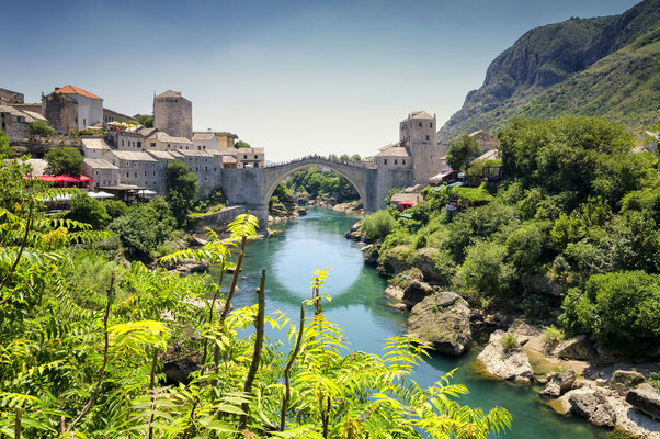 View on Old Bridge in Mostar, Bosnia and Herzegovina Copyright lukaszimilena