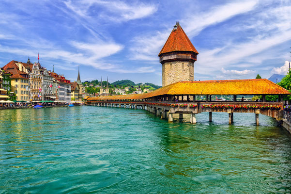 Chapel Bridge in Lucerne, Switzerland Copyright Boris Stroujko