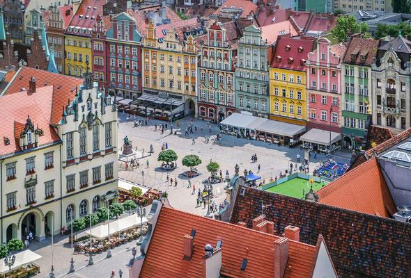 People walking on the market square in Wroclaw, Poland. Top view Copyright Velishchuk Yevhen