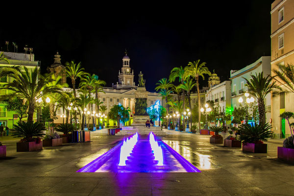 Night view of the square of saint john in Cadiz, Spain by Pavel Dudek