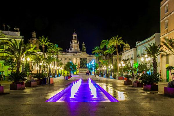Night view of the square of saint john in Cadiz, Spain by Pavel Dudek