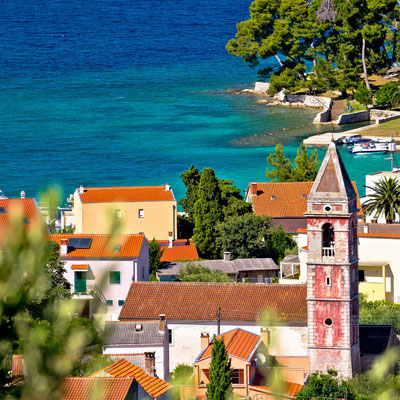 Town of Preko on Ugljan island architecture and beach view, Dalmatia, Croatia - Copyright xbrchx