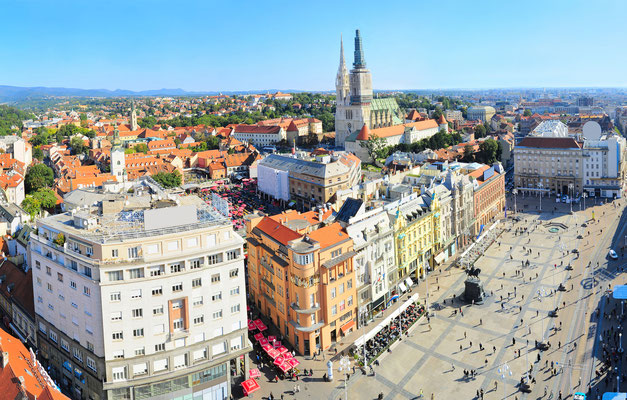 Aerial view of Jelacic Square in Zagreb by  joyfull