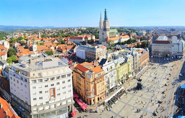 Aerial view of Jelacic Square in Zagreb by  joyfull