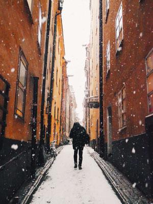 Snow in Stockholm's old town - Copyright Gamla Stan / Visit Stockholm