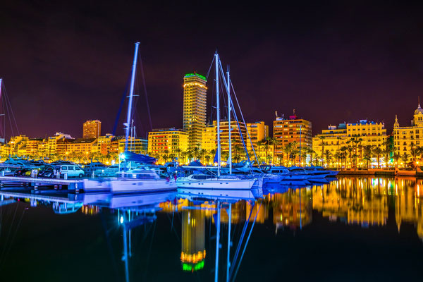 Night view of the marina of Alicante in Spain by pavel dudek