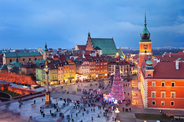 Beautiful Old Town of Warsaw in Poland illuminated at evening, during Christmas time Copyright Artur Bogacki