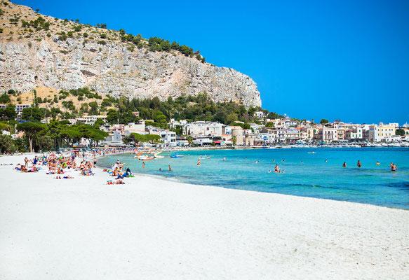 Mondello white sand beach in Palermo, Sicily. Italy. Copyright Aleksandar Todorovic