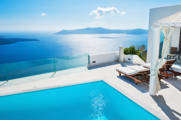Beautiful pool in Santorini - Copyright Olga Gavrilova - Santorini European Best Destinations