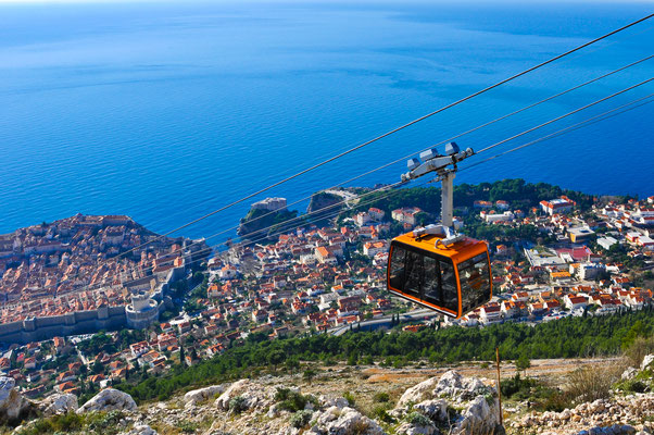 Cable Car moving down to Dubrovnik - Copyright Donatas Dabravolskas