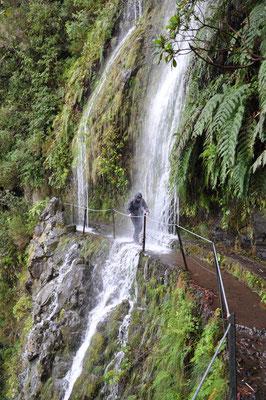Beautiful waterfalls cascade down the mountains in Madeira Portugal Copyright Nicholas Billington