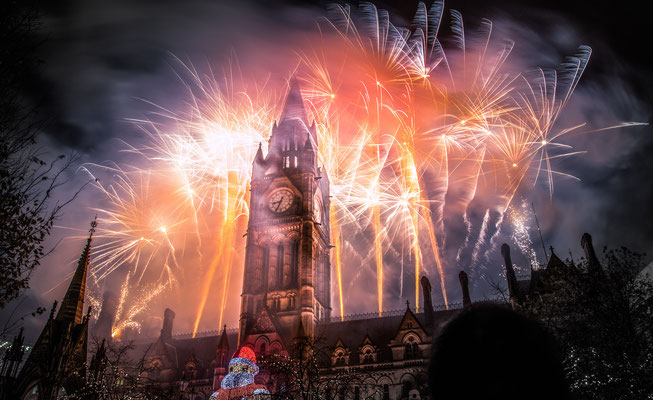 Fireworks at Albert Square, Manchester, United Kingdom - By Roger Teoh