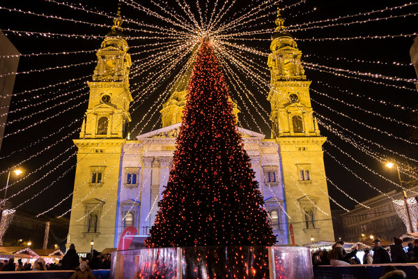 Budapest Christmas Market at Saint Stephen Basilica square - By Lerner Vadim