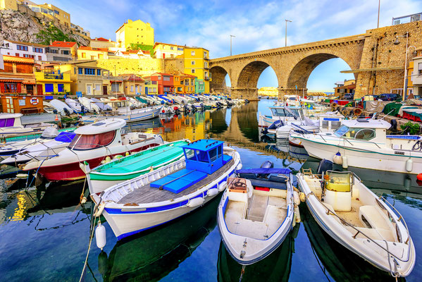 Vallon des Auffes with traditional picturesque houses and boats, Marseille, France by Boris Stroujko