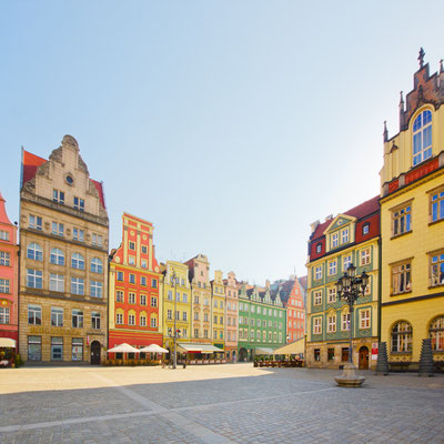 facade of old historic houses on market square, Wroclaw, Poland Copyright Neirfy