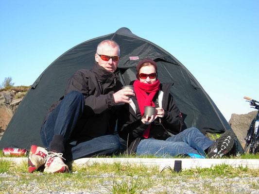 Der erste Zeltplatz mit grandioser Aussicht.