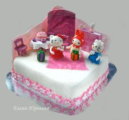 """Торт """" День рождения Китти"""". Легкий бисквит, взбитые сливки, персики и белый шоколад, 3,2 кг"""