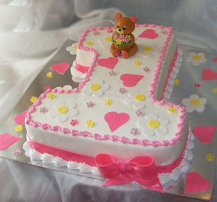"""Торт на 1 годик, вес 2,5 кг, внутри """"Дамские пальчики"""""""