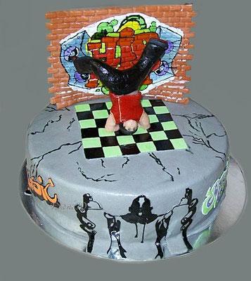 "Торт ""Танцор хип-хопа в стиле граффити"""