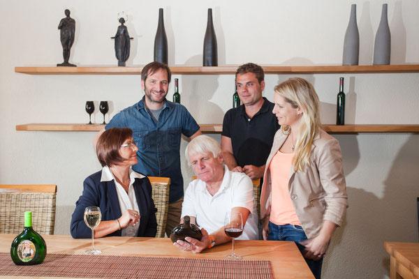 Familie Böcher: Helene, Tino, Peter, Schwiegersohn Alexander, Tochter Karolin
