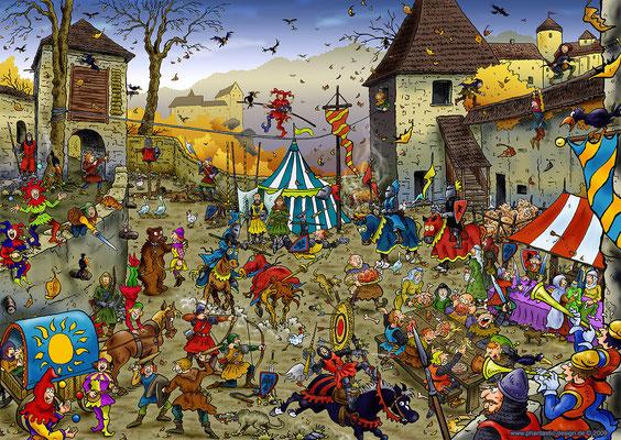 puzzle - title: middle ages - ink & digital art