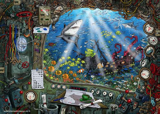 puzzle: - title: uboot - ink & digital art