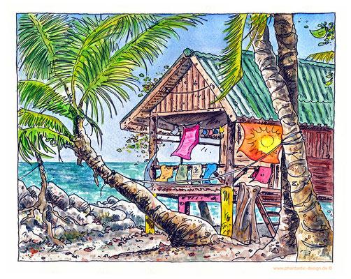 travel illustration - ink & watercolour