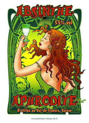 absinthe label - ink & digital art