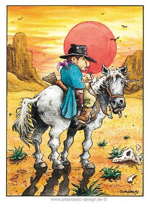 cartoon - cowboy - ink & watercolour - magazine illustration
