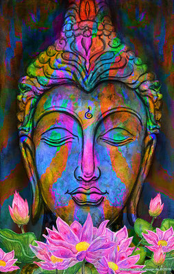 buddha art - digitaldruck auf leinwand -poster - title: wisdom - watercolors & digital art