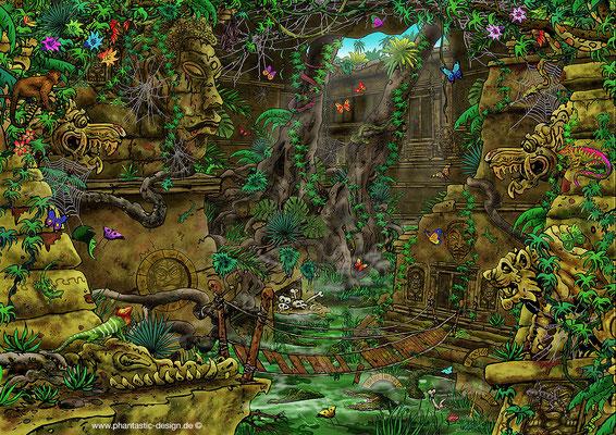 puzzle - title: angkor wat - ink & digital art