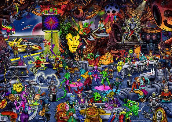 puzzle - title: spacebar - ink & digital art