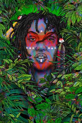 fantasy art - digitaldruck auf leinwand - poster - title: cha - ink & digital art
