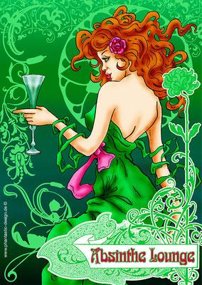 absinthe lady - ink & digital art - advertising