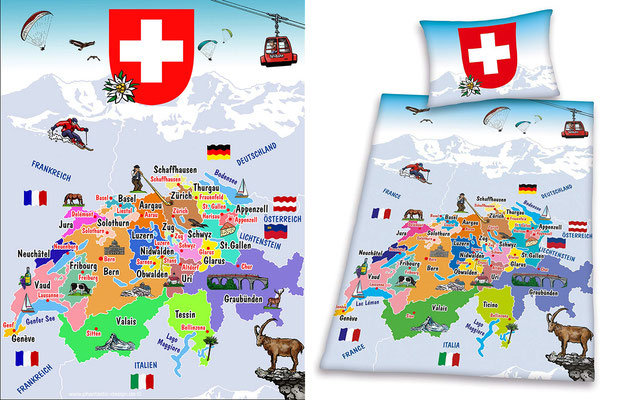 map switzerland - ink & digital art - bed linen