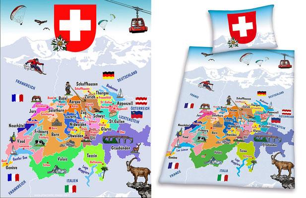 bed linen - title: map switzerland - ink & digital art