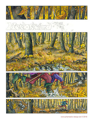 autumn wind - ink & different colours - comic