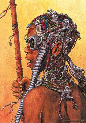 fantasy art - illustration - digitaldruck auf leinwand - native trance pilgrim - ink & different colours