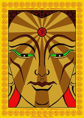 maitreya buddha - ink & digital art - print on canvas